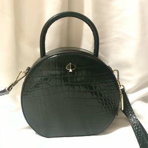 Kate Spade Andi Croc Embossed Canteen Bag Green NWT